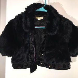 Arden B faux fur satin and rhinestone stud shrug